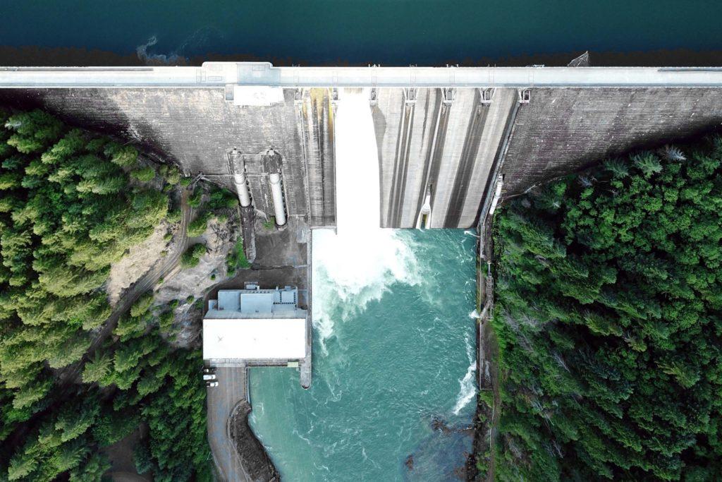 Overhead image of a dam